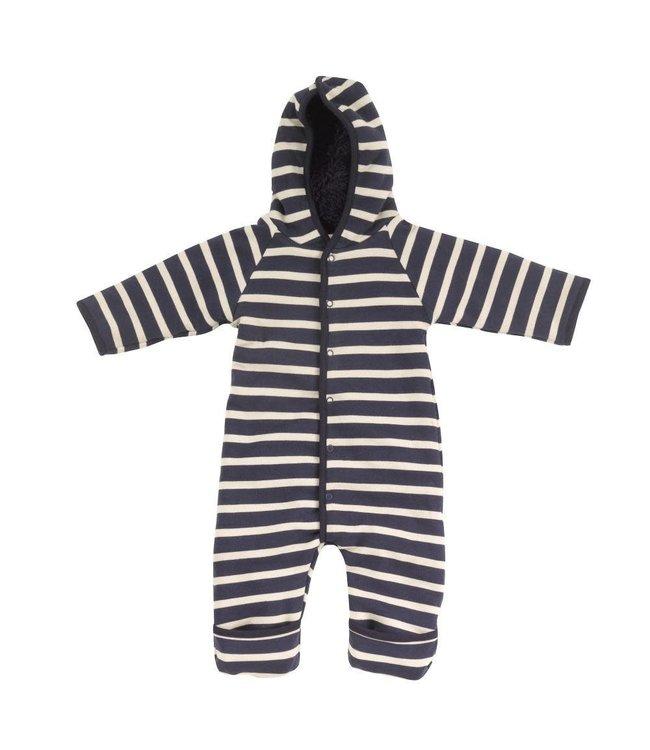 Pigeon Winterpak GOTS Katoen - Snuggle suit Breton stripe Navy & Stone