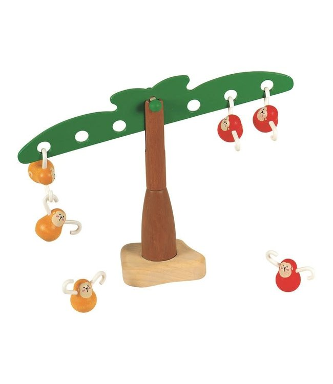 Plan Toys Balancing monkey - Balanceer boom met aapjes behendigheidsspelletje van duurzaam hout