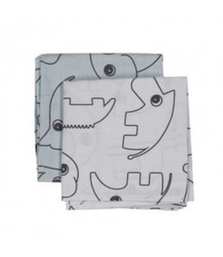 Done by Deer Burp cloth 2-pack Contour Grey 70 x 70 cm