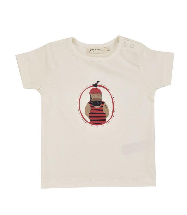 Pigeon T-shirt Korte Mouw GOTS Seadog Red Single Print