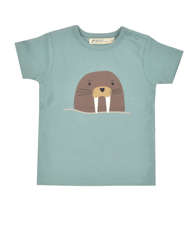 Pigeon T-shirt Korte Mouw GOTS Walrus Single Print