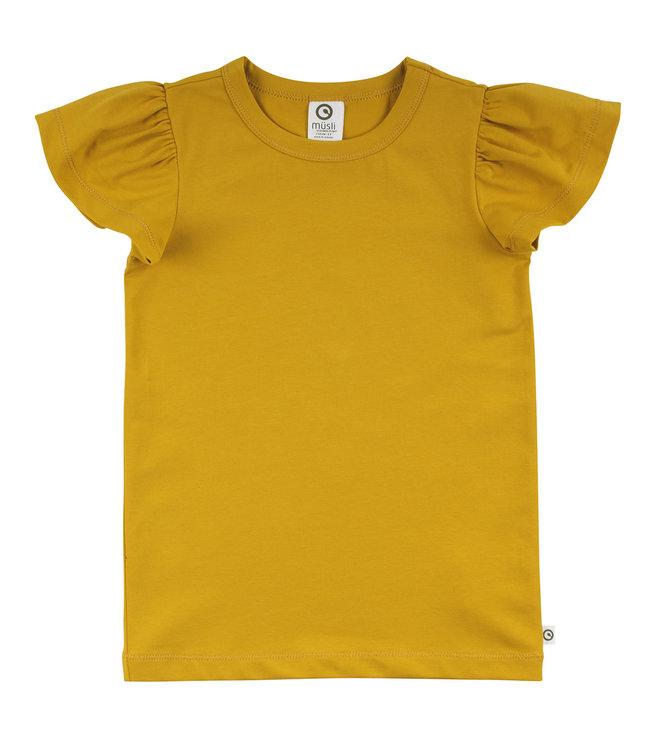Muesli Cozy me T-shirt met vlindermouwen GOTS katoen Mustard