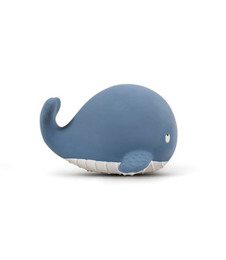 Oli & Carol Filibabba Natuurrubberen bijtspeeltje met belletje - Christian the Whale Powder Blue