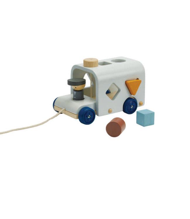 Plan Toys Sorteerbus  Orchard Collection - vormenstoof (5-delig) van duurzaam hout