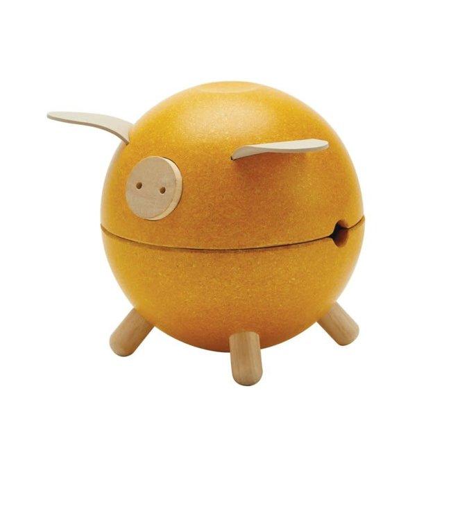 Plan Toys Piggy Bank spaarpot Geel van duurzaam hout