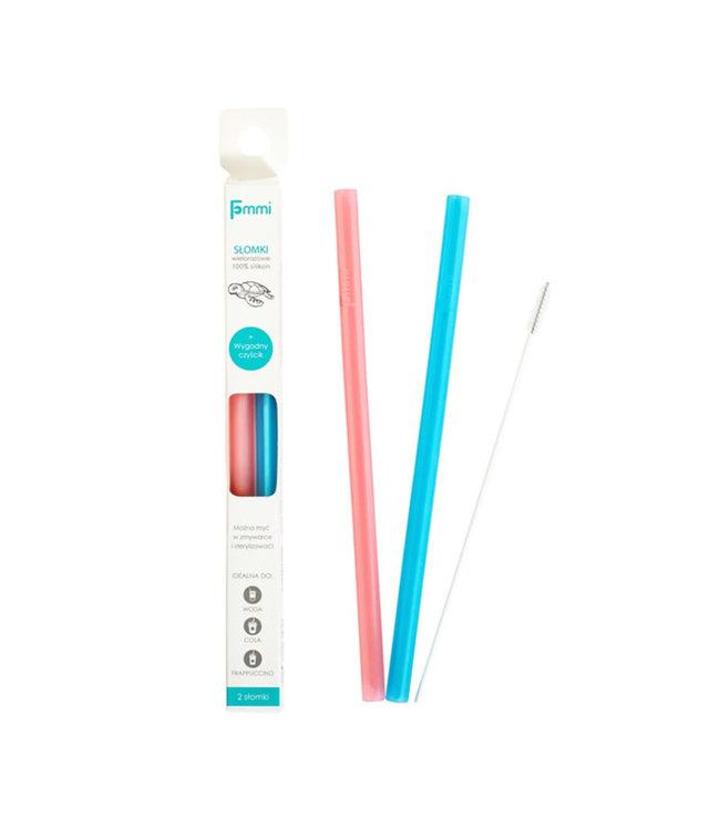 Fommi Siliconen rietje - Herbruikbaar - 2 pack Pink / Ocean