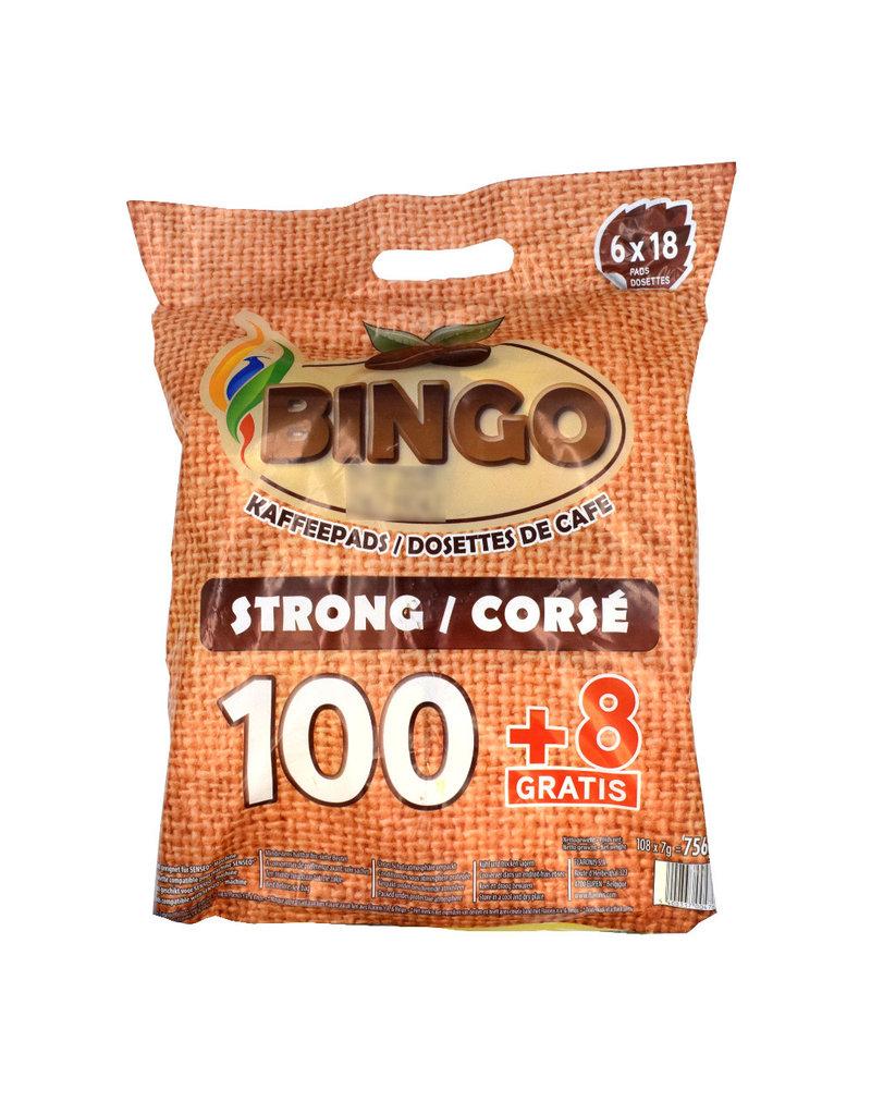 Bingo Bingo Koffiepads Strong voordeelverpakking 108 Pads - Doos
