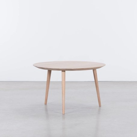 Tomrer Coffee Table Round Oak Whitewash - 3 Legs