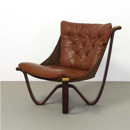 Retro fauteuil leer met veel knopen 70s