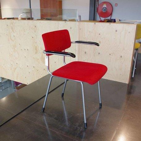 Gispen 1235 stoel jaren 70 stof rood rib
