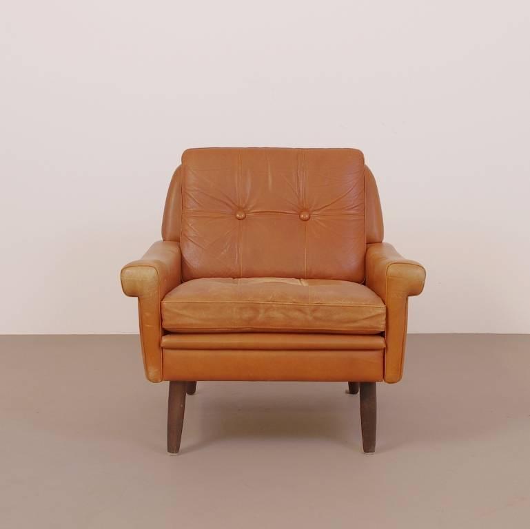 Bruin Leren Vintage Fauteuil.Skippers Vintage Fauteuil Lage Rug Oranjebruin Leer 70s Deens