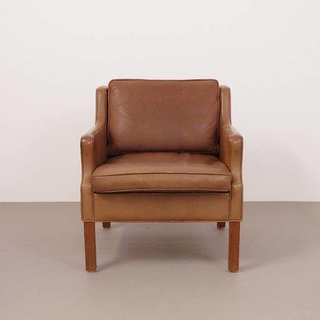 Mogens Hansen fauteuil met prachtig naturel bruin leer. 70s #2