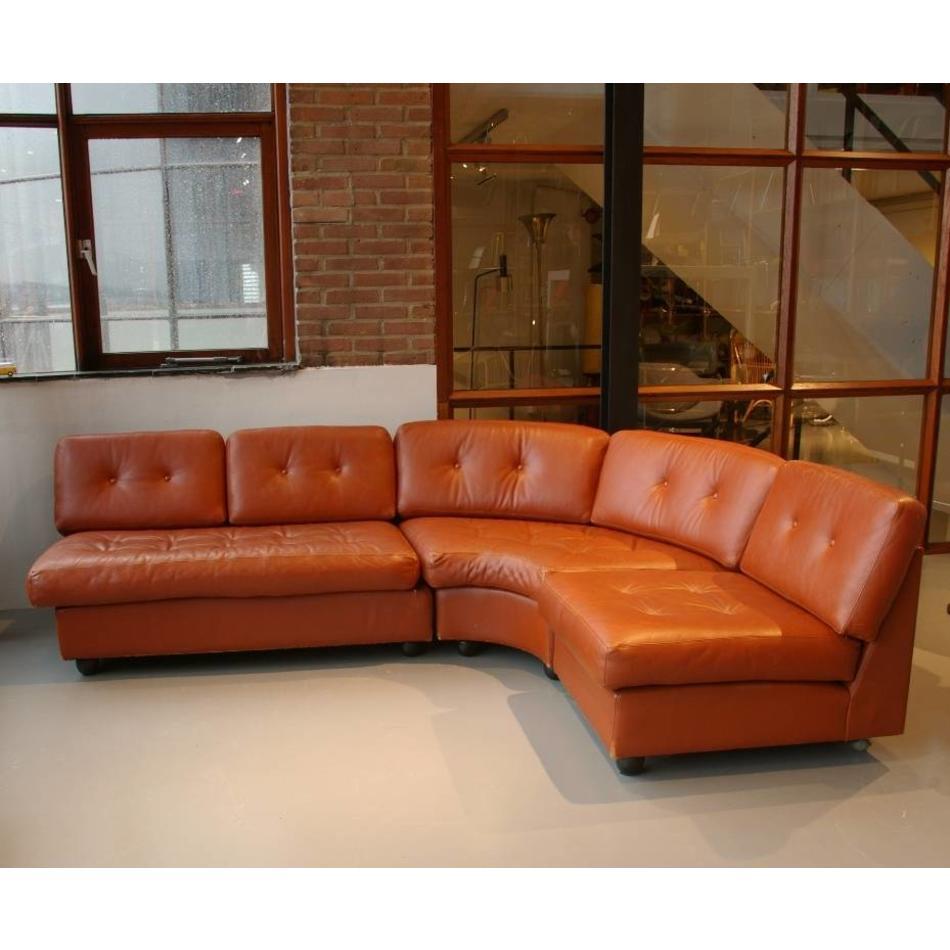 Hoekbank Design Leer.Artifort Design Team Elementen Hoekbank Cognac Leer