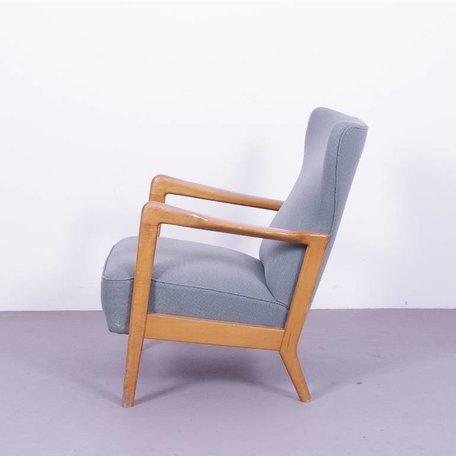 Fritz Hansen fauteuil met wollen bekleding uit de jaren 50