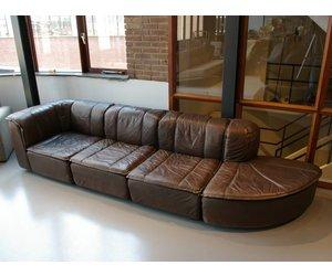 Bruine Leren Lounge Bank.Vintage Bruin Leren Element Bank Jaren 70