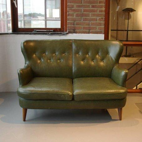 Theo Ruth Artifort stijl bankje groen leer vintage