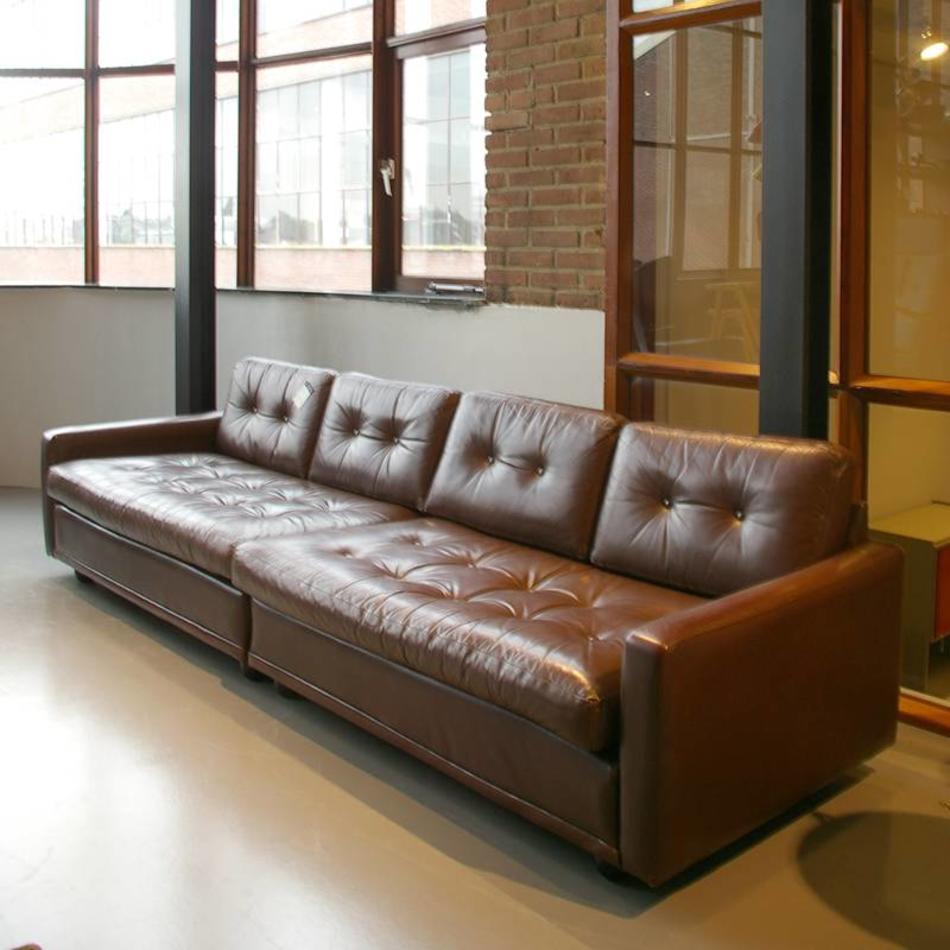 Vintage Leren Bank.Artifort Design Team Grote Leren Bank Uit 2 Delen Vintage 70s
