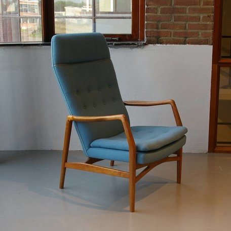 Kurt Olsen fauteuil teak met wollen bekleding 50s