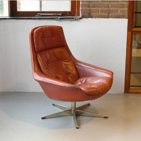 Bramin vintage draai fauteuil in cognac leer