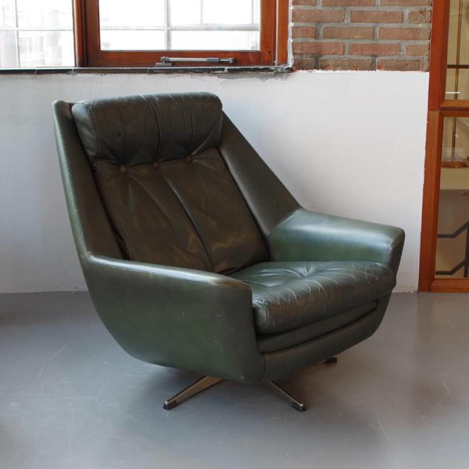 Fauteuil Leer Groen.Vintage Draai Fauteuil Groen Leer 70s