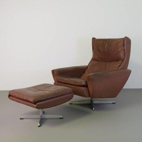 Thams fauteuil met hocker leer 70s