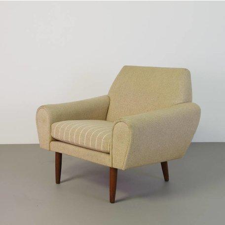 decoratieve fauteuil Deens 60s wollen bekleding
