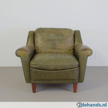 Kurt Østervig fauteuil vintage groen leer 60s