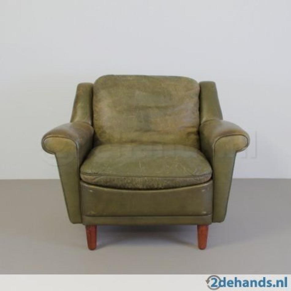 Fauteuil Leer Groen.Kurt Ostervig Fauteuil Vintage Groen Leer 60s