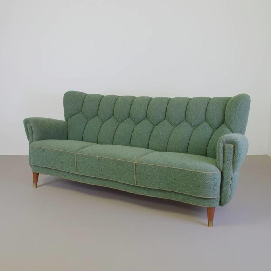 Deens Design Vintage Bank.Jaren 40 3 Zits Bank Scandinavisch Design Groene Stof De