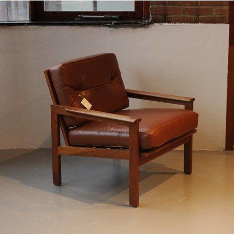 Illum Wikkelsö fauteuil model 'Capella'  leer en rosewood