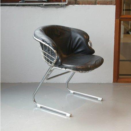 Gastone Rinaldi stoel (4 pcs) Thema Italy black leather