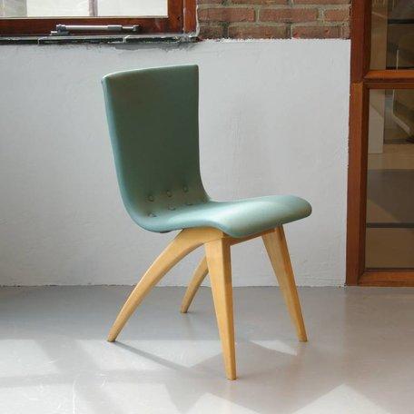 G. van Os stoelen (4pcs) 50s groen kunstleer