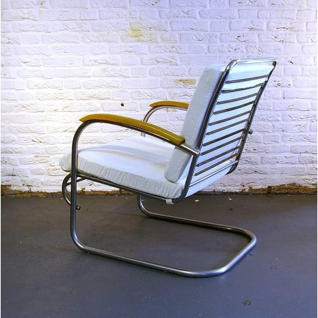 Paul Schuitema fauteuil d3 ribstof wit