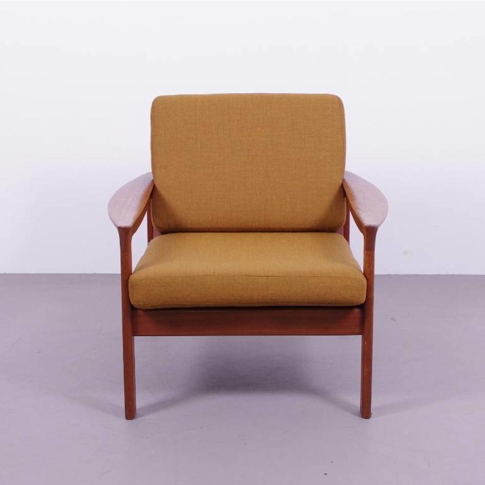 Ongekend Deense fauteuil teak houten jaren 60 - okerbruin - De Machinekamer HN-92