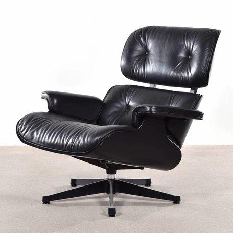 Eames Lounge chair - Zwart hout en leer