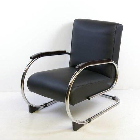 Tubax 1948 R buisframe fauteuil zwart ribstof
