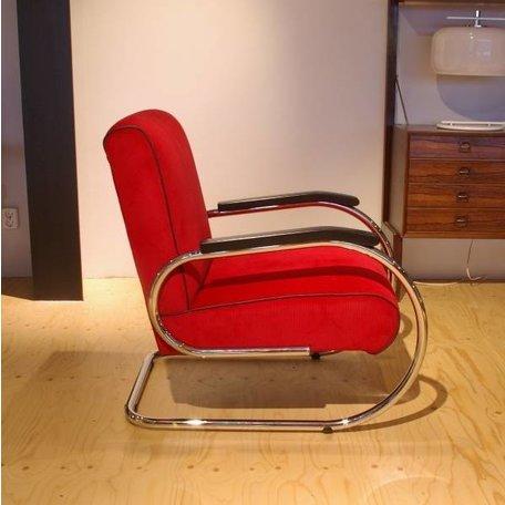 Jan Schröfer fauteuil de Cirkel rode ribstof