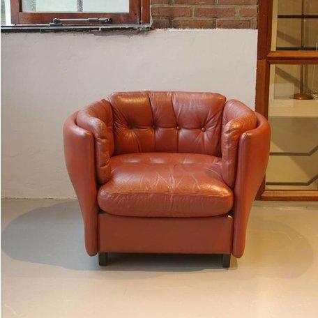 artifort style retro fauteuil  cognac leer eigenzinnig model