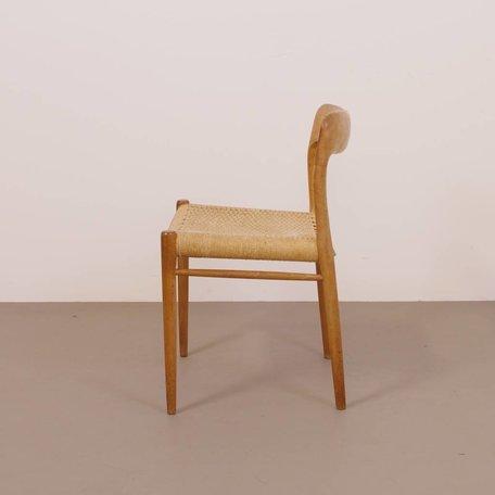 set (4) Niels O. Møller model 75 stoel eiken papercord