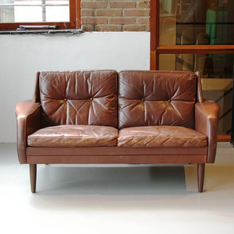 Witte Leren Bank 2 Zits.Deense Vintage Design Bank 2 Zits Leer