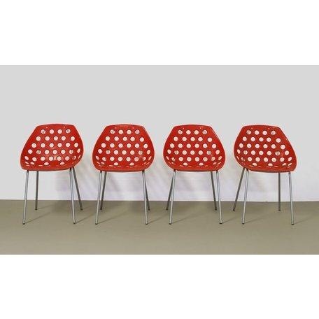 Pierre Guariche set (4) schelpstoelen Meurop rood