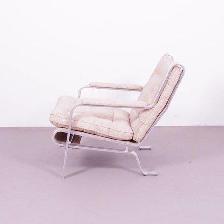 Persson Fauteuil aluminium en wollen bekleding 70s