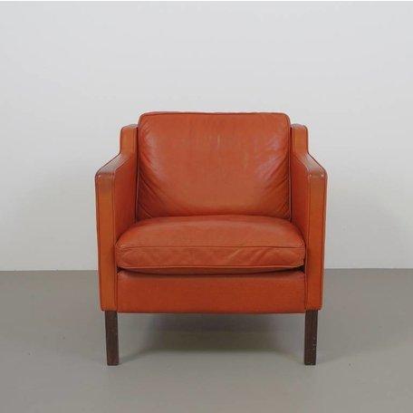 Grote Deense fauteuil - Roodbruin Leer