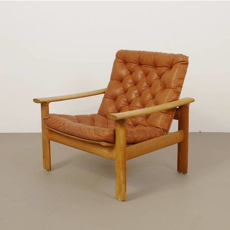 Fritz Hansen fauteuil - Leer met knopen