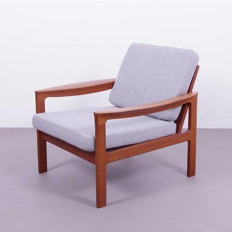 Deense fauteuil teak houten jaren 60 - Grijs