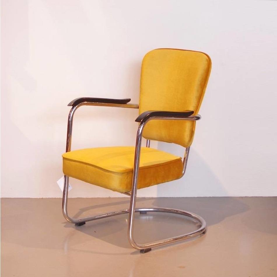 Ongebruikt Fana Buisframe fauteuil - Geel velours - jaren 30 - De Machinekamer DL-49