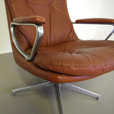 Gentilina Lounge Chair leer naturel/ lichtbruin leer