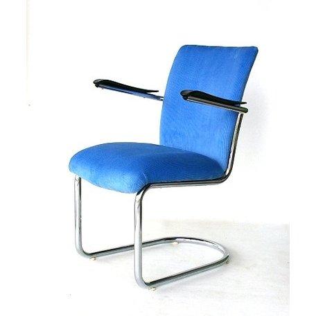 De Wit 7019 fauteuil - Lichtblauwe ribstof