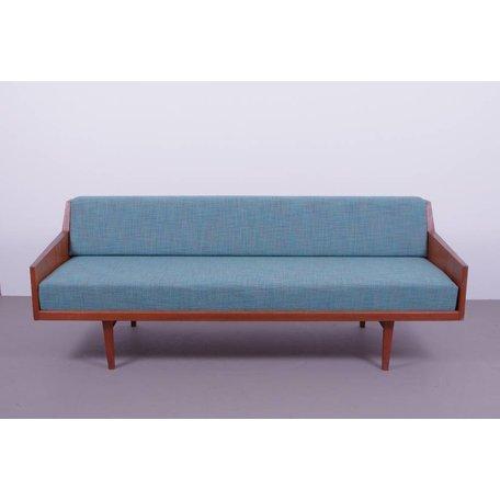 vintage slaapbank teak hout jaren 60 Deens blauw groen
