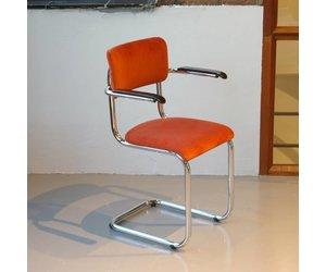 Stoel Met Leuning : Tubax 152 vintage stoel met armleuning stof naar wens de